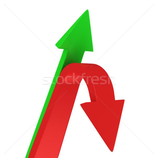 Yukarı aşağı oklar kırmızı yeşil işaret Stok fotoğraf © timbrk