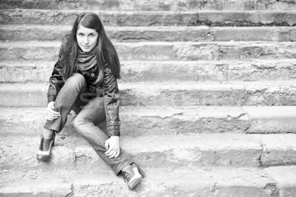 A woman on stairs Stock photo © timbrk
