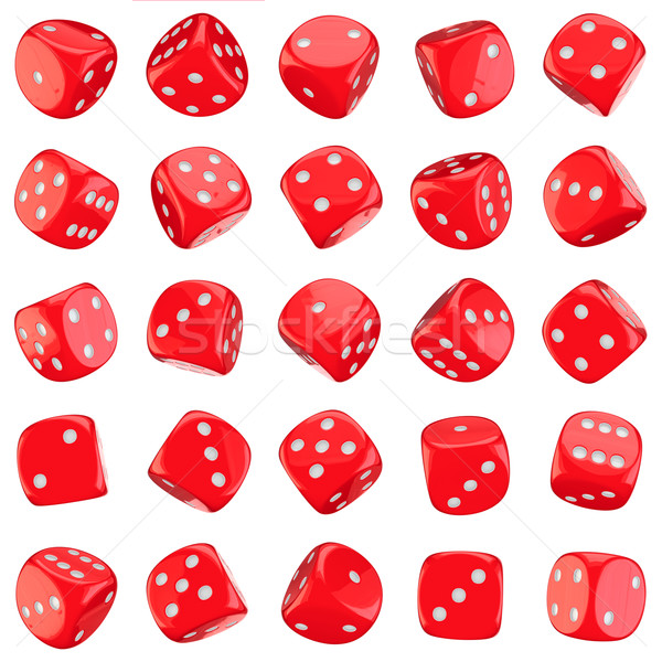 Red dice icons Stock photo © timbrk