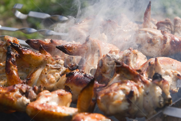 Chicken shashlik macro Stock photo © timbrk