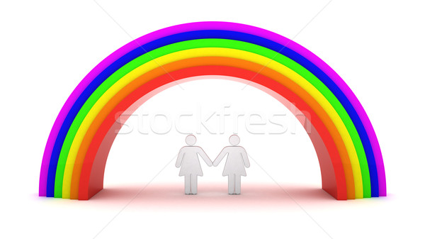 Lesbiche Coppia Rainbow 3D oggetti isolato Foto d'archivio © timbrk