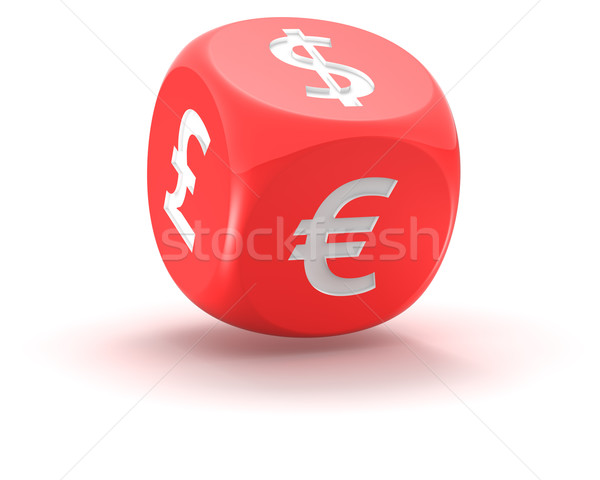 Dice with symbols of currencies Stock photo © timbrk