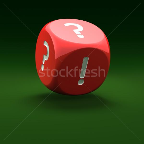 Odpowiedź pytanie czerwony kości znak zapytania wykrzyknik Zdjęcia stock © timbrk