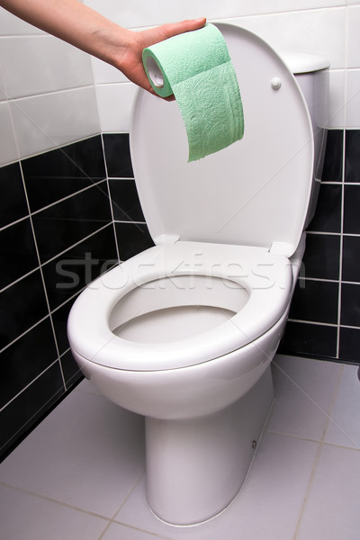 Mano carta igienica mano umana verde WC Foto d'archivio © timbrk