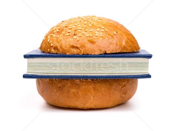 Intelectual sanduíche livro isolado branco comida Foto stock © timbrk
