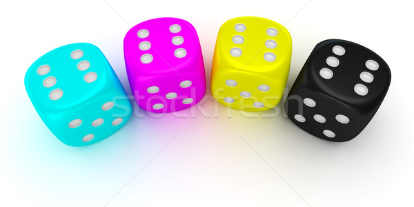 Dices of cmyk colors Stock photo © timbrk