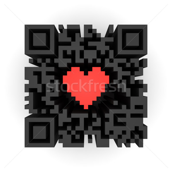 Heart in QR-code Stock photo © timbrk