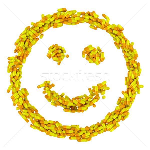 Salud feliz sonrisa muchos amarillo pastillas Foto stock © timbrk
