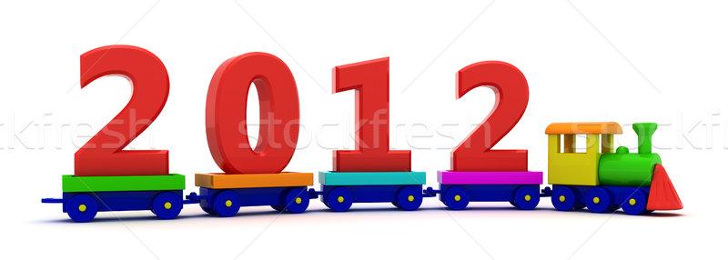 Año nuevo tren rojo dígitos 2012 juguete Foto stock © timbrk