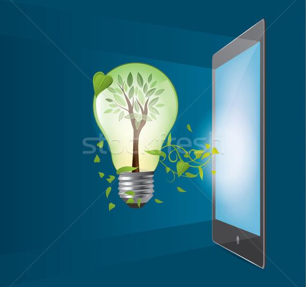Green ecology bulb with tablet concept. Environment vector illus Stock photo © tina7shin