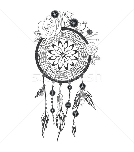Hand drawn native american dreamcatcher with flowers Stock photo © tina7shin