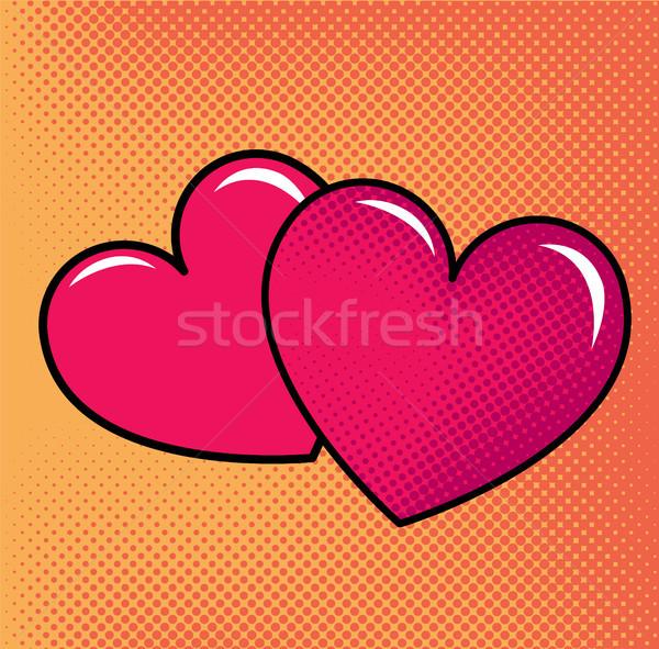 Piros szívek halftone absztrakt pár rózsaszín Stock fotó © tina7shin