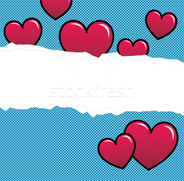 Ripped paper with red hearts over halftone background Stock photo © tina7shin