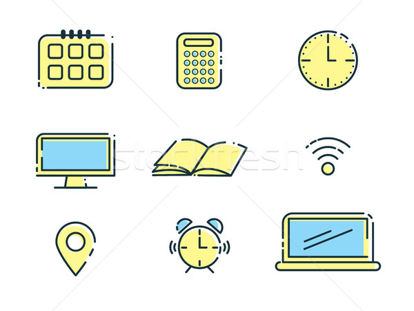 Outline office icons set. Design elements. Vector illustration Stock photo © tina7shin