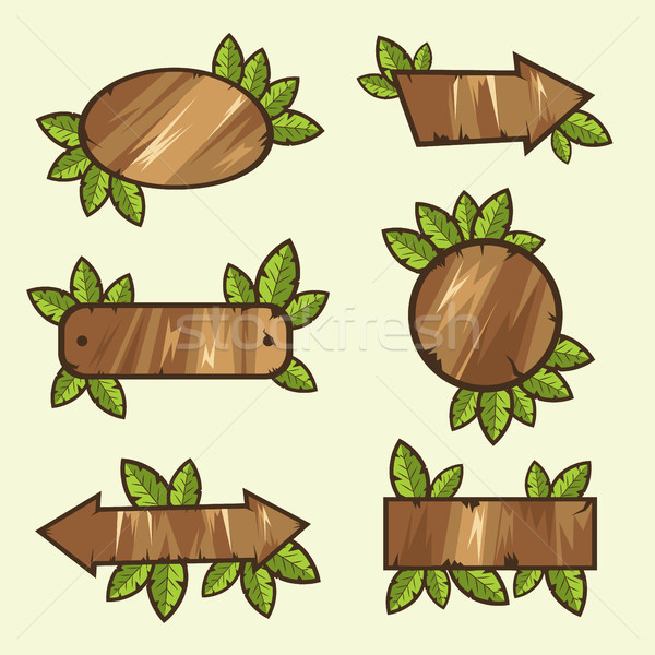 wooden signs with leaves Stock photo © tina7shin