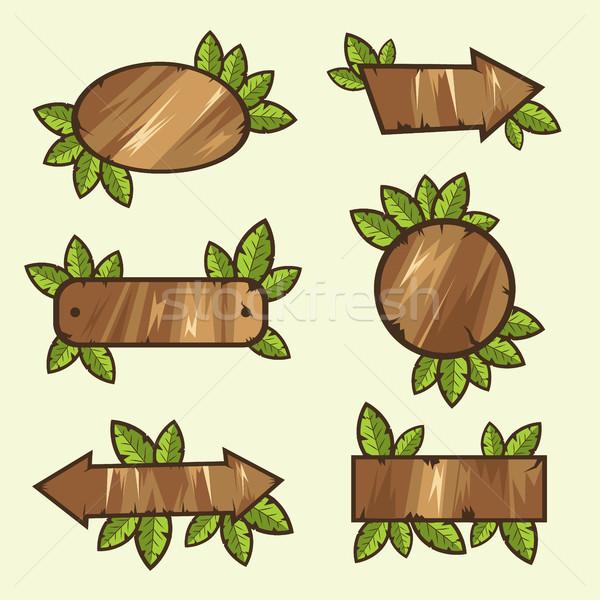 Signos hojas vector establecer ilustración Foto stock © tina7shin