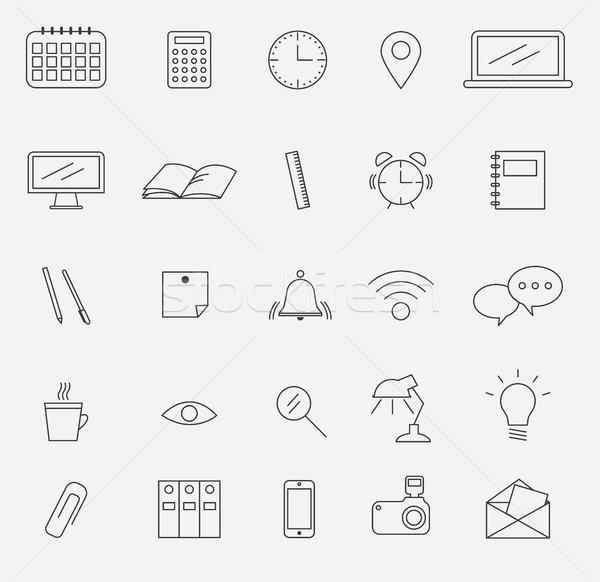 Outline office icons set. Design elements. Vector illustration Stock photo © tina7shin