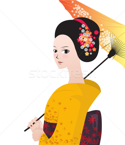 Beautiful japanese woman wear kimono Stock photo © tina7shin