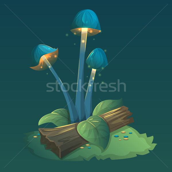 Stock photo: Fantasy mushrooms with light, leaves and grass.