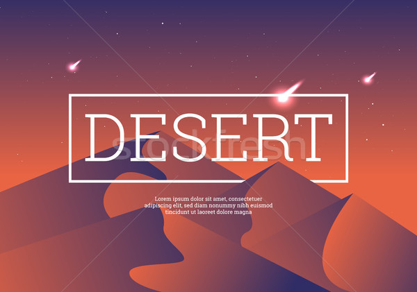 Desert landscape vector illustration. Stock photo © tina7shin