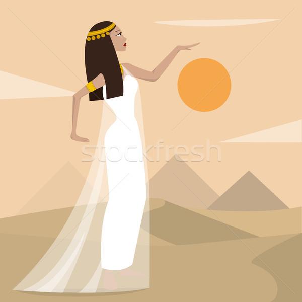 Antigua Cartoon mujer bastante nina desierto Foto stock © tina7shin