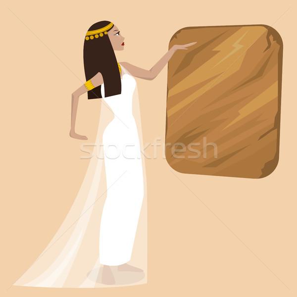 ősi rajz nő csinos lány festmény Stock fotó © tina7shin