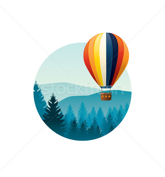 Colorful hot air balloon flying over mountains. Vector illustrat Stock photo © tina7shin