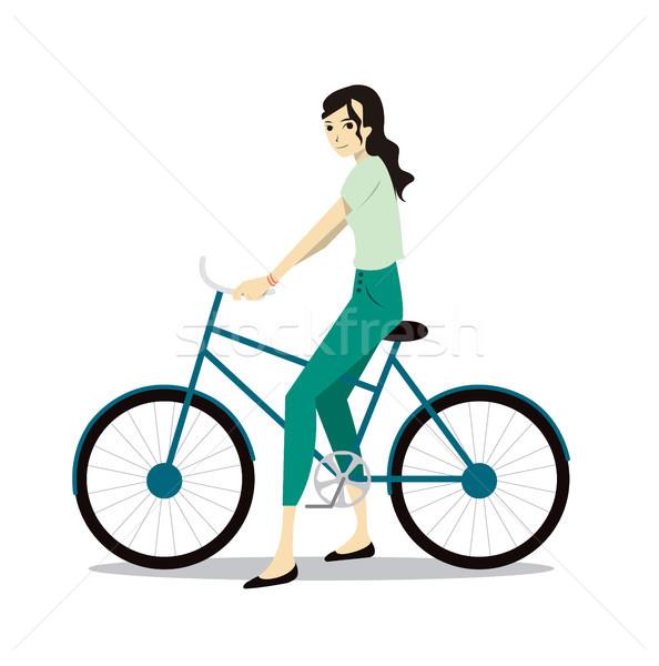Aktív fiatal nő lovaglás bicikli turista karakter Stock fotó © tina7shin