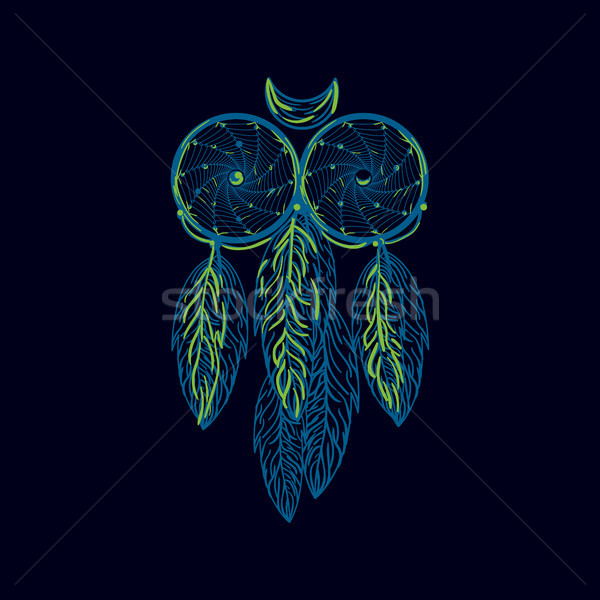 Hand drawn native american dreamcatcher owl with feathers. Vecto Stock photo © tina7shin
