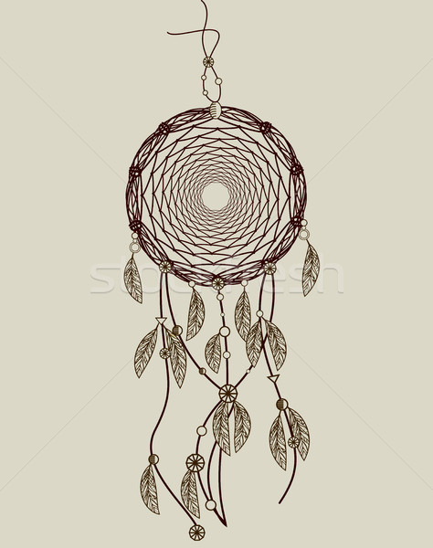 Stock photo: Hand drawn native american dreamcatcher with feathers. Vector il