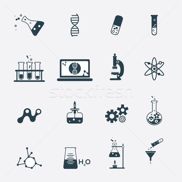 Science icons set. Chemistry and medicine collection. Stock photo © tina7shin
