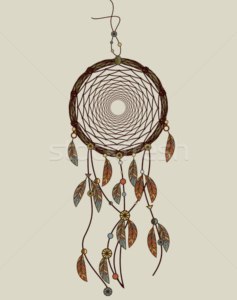 Hand drawn native american dreamcatcher with feathers. Vector il Stock photo © tina7shin
