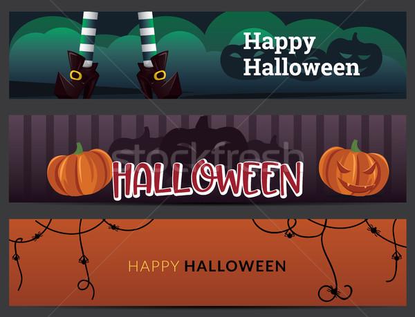Halloween bannerek szett tökök boszorkány lábak Stock fotó © tina7shin
