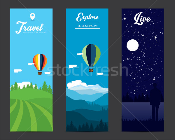 пейзаж Баннеры набор горные воздуха шаров Сток-фото © tina7shin