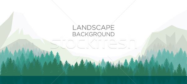 Landscape background with mountain,forest and lake. Vector illus Stock photo © tina7shin