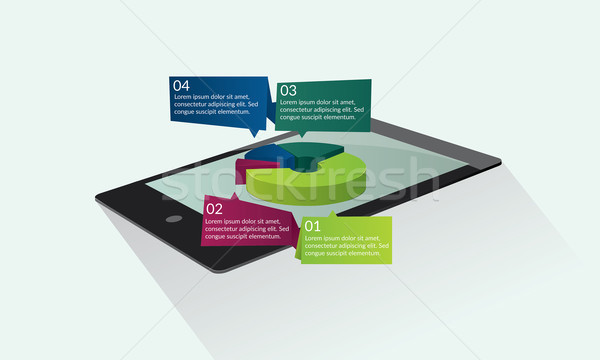 Tabletta kördiagram infografika bemutató design sablon üzlet Stock fotó © tina7shin