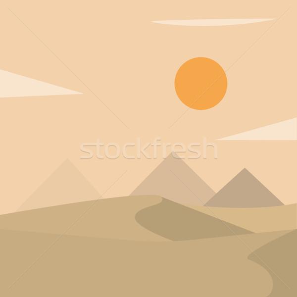 Desert landscape with pyramids Stock photo © tina7shin
