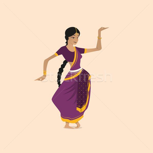 Pretty indian woman dancing wearing sari Stock photo © tina7shin