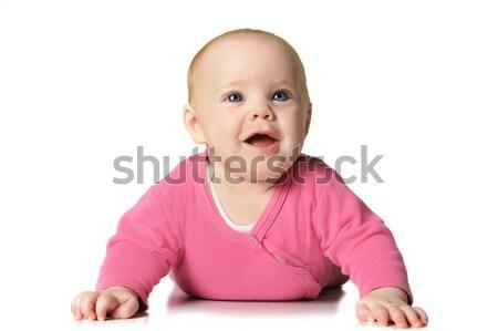 Baby girl on white background Stock photo © tish1