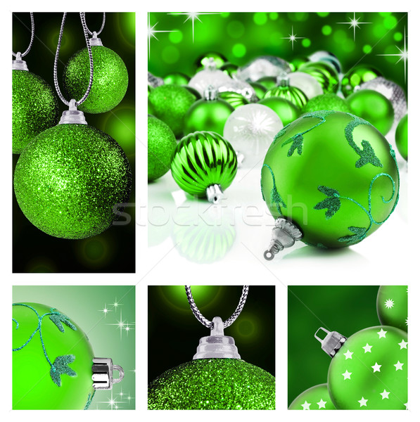 Collage of green christmas decorations on different backgrounds Stock photo © tish1