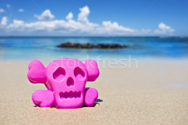 Pink toy on the beach showing danger Stock photo © tish1