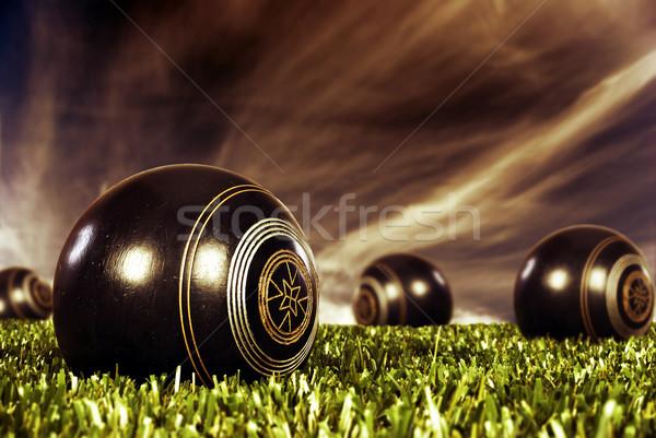 Bowling alan gün batımı açmak Stok fotoğraf © tish1