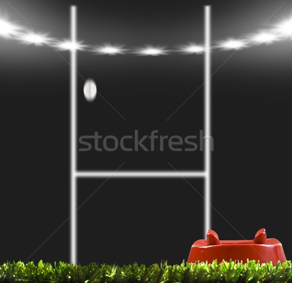 Rugby ball kicked to the posts on a rugby field Stock photo © tish1