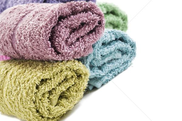Fresco para cima toalhas branco abstrato Foto stock © tish1
