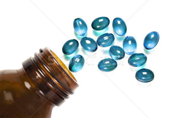 Tabletta üveg fehér űr szöveg boldog Stock fotó © tish1