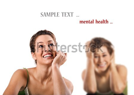 Contradiction - a happy smiling and a unhappy depressed woman Stock photo © tish1