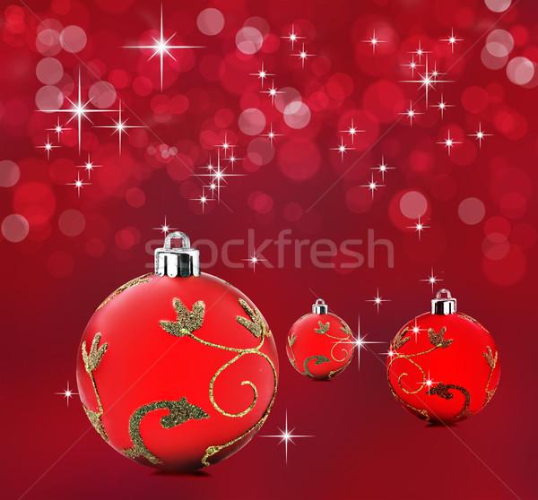 Rouge Noël décoratif babiole fond Photo stock © tish1