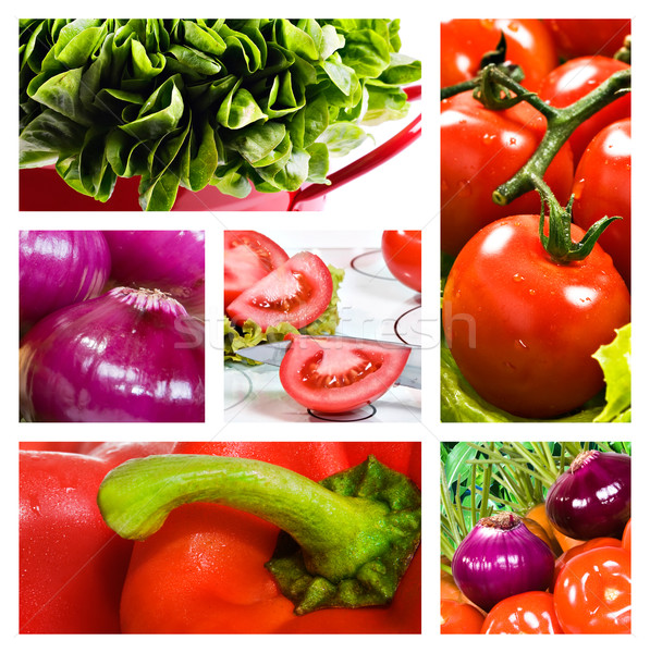 Kolaj salata domates soğan marul kırmızı Stok fotoğraf © tish1