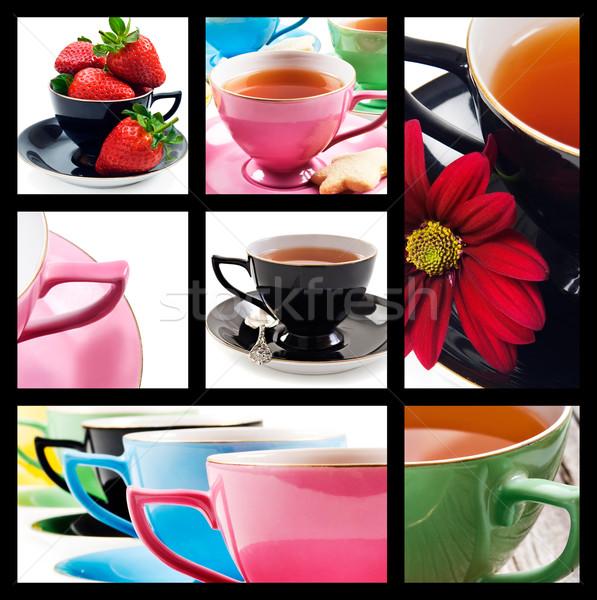 Photo stock: Collage · différent · couleurs · blanche · fleur · bleu