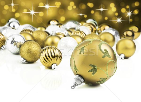 Dourado decorativo natal estrela fundo Foto stock © tish1